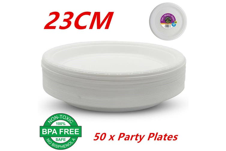50 x 23CM Disposable Plastic Plates 230mm Round White Plate Party Occasions Bulk