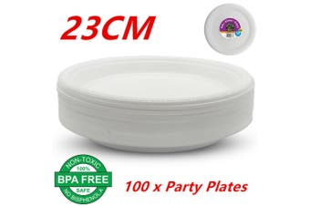100 x 23CM Disposable Plastic Plates 230mm Round White Plate Party Occasions Bulk