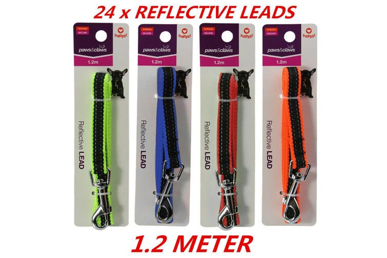 24 x Durable Reflective Pet Dog Puppy Rope Walking Safety Lead Leash With Clip