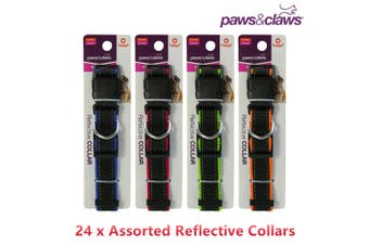 24 x Reflective Edge Pet Adjustable Collars Dog Training Strap Leash Lead Ring