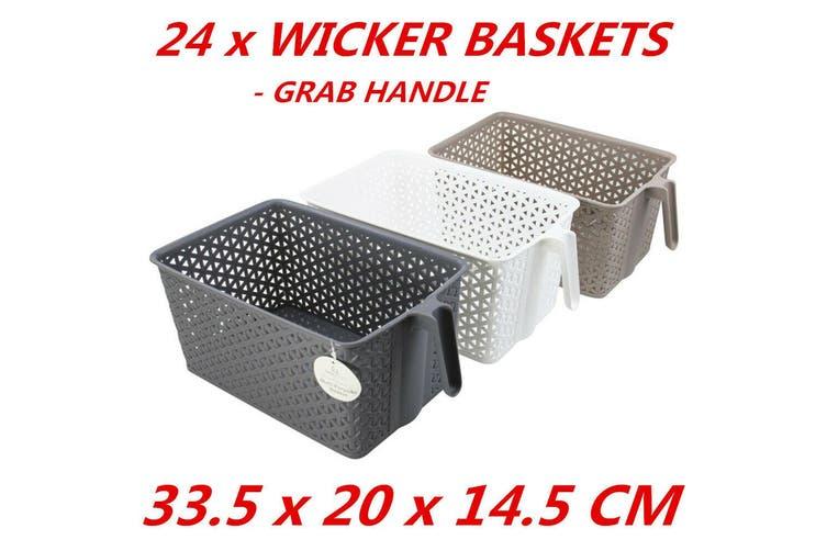 24 x Rectangle Plastic Wicker Baskets Grab Handle Organizer Storage 38.5x16x13cm