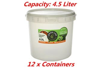 12 x 4.5L Kitchen Food Storage Pail Containers With Lids Airtight Pantry Bucket Tub