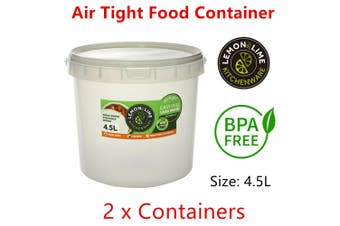2x Air Tight 4.5L Round Food Storage Container Bucket Plastic Stackable BPA Free