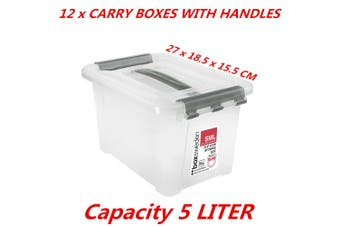12 x 5L Small Clip Lock Clear Plastic Storage Carry Box w Handle Container Tub