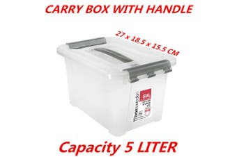 5L Small Clip Lock Clear Plastic Storage Carry Box With Handle Container Tub