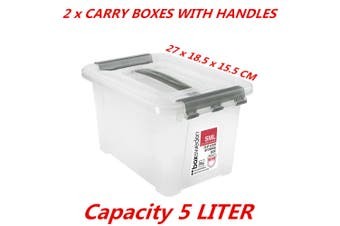 2 x 5L Small Clip Lock Clear Plastic Storage Carry Box With Handle Container Tub
