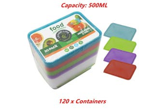 120 x Food Containers Colored Lid 500ML BPA Free Plastic Meal Storage Take Away