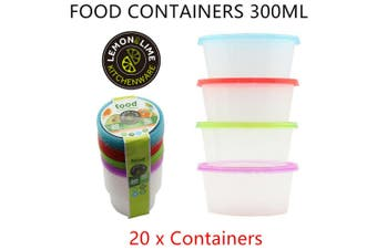 20 x Reusable Food Container 300ML Meal Prep Lunchbox Storage Plastic Microwave