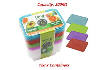 120 x 300ML Food Containers Colored Lid 300ML BPA Free Plastic Meal Storage Take Away