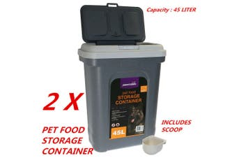2 x Pet Puppy Dog Cat Food Storage Containers With Scoop Dry Dispenser Large 45L