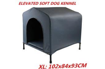 XL: 102x84x93CM Elevated Waterproof Canvas Soft Dog Kennel House Portable Travel Steel Frame FDD
