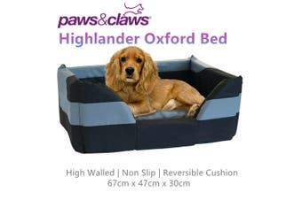 Highlander Oxford High Wall Pet Bed Dog Cat Puppy Soft Comfort Basket Medium