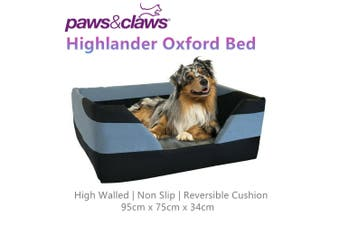 Highlander Oxford High Wall Pet Bed Dog Cat Puppy Soft Comfort Basket Large