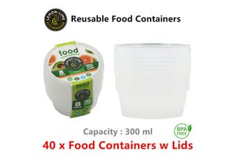 40 x 300ml Round Take Away Containers w Lids Reusable Plastic Food Container