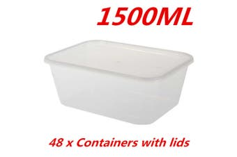48 x 1500ML TAKE AWAY CONTAINERS with LIDS DISPOSABLE PLASTIC FOOD CONTAINER 1.5L