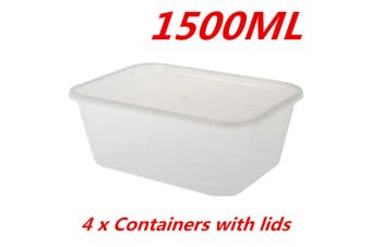 2 x 1500ML TAKE AWAY CONTAINERS with LIDS DISPOSABLE PLASTIC FOOD CONTAINER 1.5L
