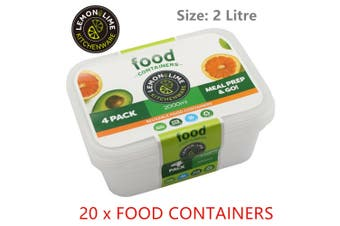 20x Food Container 2L Plastic Takeaway Lunchbox Cooking Storage Microwave Freeze
