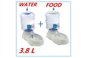 Automatic Pet Food + Water Dispenser 3.8L Feeder Drink Gravity Fountain Plastic Bowl Cat Dog