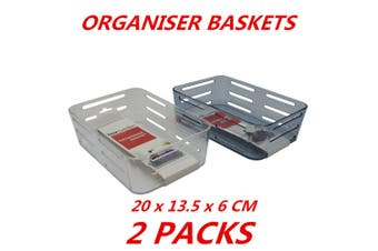 2 x Shower Plastic Basket Bathroom Organizer Caddy Storage Shelf Holder Bin Tray 20c