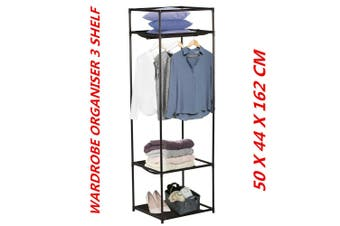 3 Tier Wardrobe Organizer Durable Sturdy Construction Closet Clothes Hanger DIY