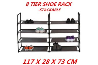 8 Tier Stackable Shoe Rack Wall Bench Shelf Closet Organizer Storage Box Stand