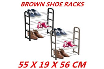 Brown 4 Tier Shoe Rack Tower Shelf Organiser Storage Stand Cabinet Holder Layer Corner