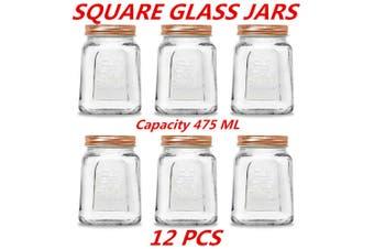 12 x 475ml Square Vintage Glass Jar Rose Gold Lid Kitchen Food Storage Jars Canister