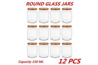 12 x 150ml Glass Honey Jars Round Rose Gold Lid Lolly Jam Wedding Conserve Storage
