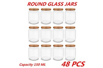 48 x 150ml Glass Honey Jars Round Rose Gold Lid Lolly Jam Wedding Conserve Storage