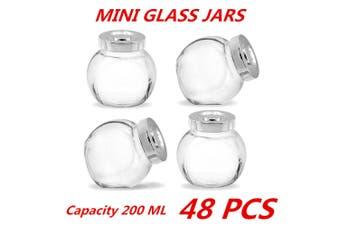 48 x 200ml Mini Glass Honey Jars Silver Lid Lolly Jam Wedding Conserve Storage Food