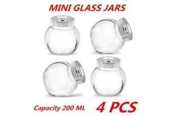 4 x 200ml Mini Glass Honey Jars Silver Lid Lolly Jam Wedding Conserve Storage Food