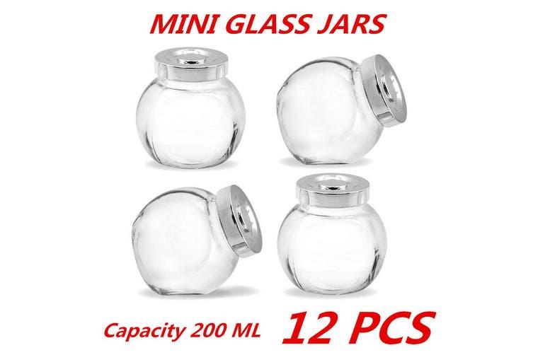 12 x 200ml Mini Glass Honey Jars Silver Lid Lolly Jam Wedding Conserve Storage Food