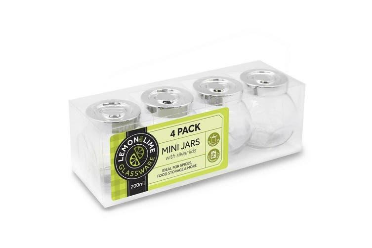 24 x 200ml Mini Glass Honey Jars Silver Lid Lolly Jam Wedding Conserve Storage Food