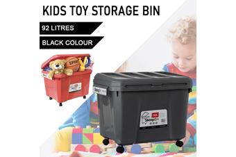 Black Kids Toys Storage 92L Container Bins Organiser Chests Cabinet Box Basket Tub