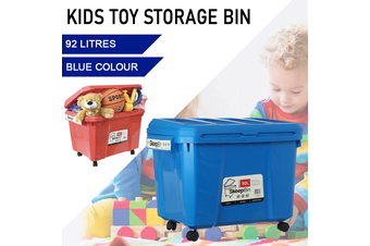 Blue Kids Toys Storage 92L Container Bins Organiser Chests Cabinet Box Basket Tub