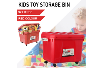 Red Kids Toys Storage 92L Container Bins Organiser Chests Cabinet Box Basket Tub