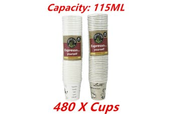 480 x Coffee Paper Cup 115ML Disposable Expresso Party Catering Drink Printed Cups