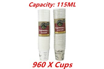 960 x Coffee Paper Cup 115ML Disposable Expresso Party Catering Drink Printed Cups