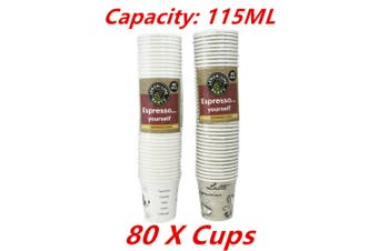 80 x Coffee Paper Cup 115ML Disposable Expresso Party Catering Drink Printed Cups