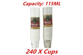 240 x Coffee Paper Cup 115ML Disposable Expresso Party Catering Drink Printed Cups