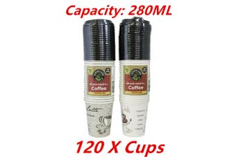 120 x Coffee Paper Cup 280ML Disposable with Lids Party Catering Drink Printed Cups