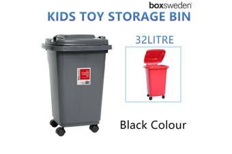 Black Wheelie Bin 32L Kids Toys Storage Mini Plastic Waste Container Tub Boxes Chest