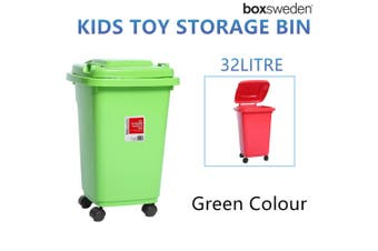 Green Wheelie Bin 32L Kids Toys Storage Mini Plastic Waste Container Tub Boxes Chest