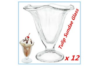 12 Classic Glass Tulip Sundae Glasses Dessert Cups Dish Dishes Ice Cream Bowls