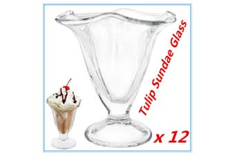 12 x Classic Glass Tulip Sundae Glasses Dessert Cups Dish Dishes Ice Cream Bowls
