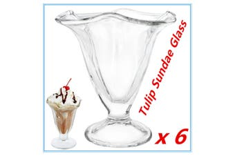 6X Classic Glass Tulip Sundae Glasses Dessert Cups Dish Dishes Ice Cream Bowls W