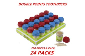 24 x Double Side Sharp Point Smooth Super Strong Bamboo Toothpick Kitchen Home 250pcs