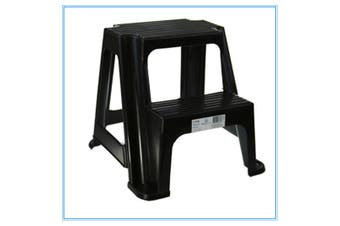 Black Kitchen Portable Plastic 2 Step Stool Steps Bathroom Kids toilet training 36CM