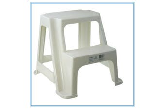 White Kitchen Portable Plastic 2 Step Stool Steps Bathroom Kids toilet training 36CM