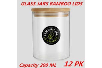 12 x Glass Jar Food Storage Bottles Sealed Cans Bamboo Lid Air Tight Container 200ml